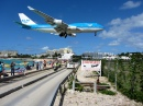 KLM Airplane over Maho Bay Beach
