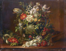 Flowers in a Vase on a Stone Plate