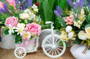 Flowers and White Bike