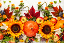 Pumpkins, Fruits and Fall Leaves